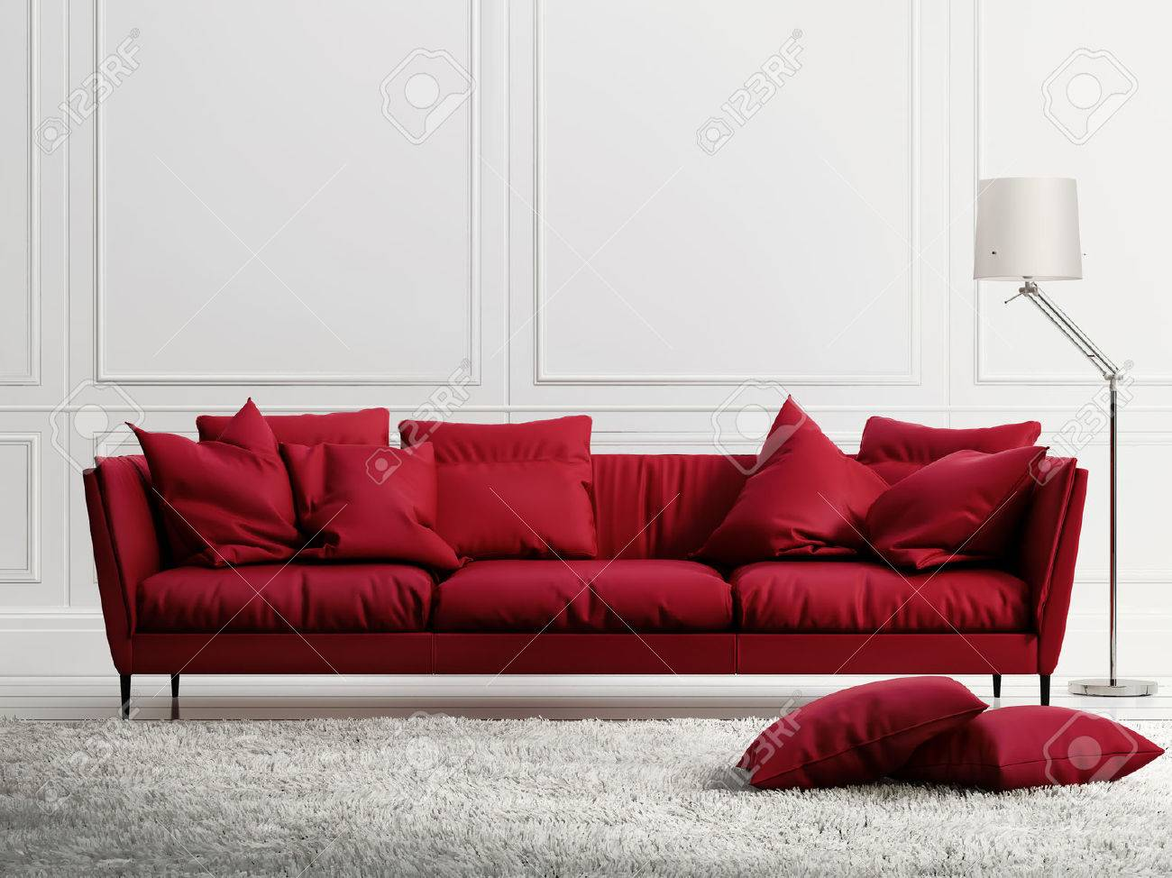 Red leather sofa in classic white style interior Stock Photo - 25169617
