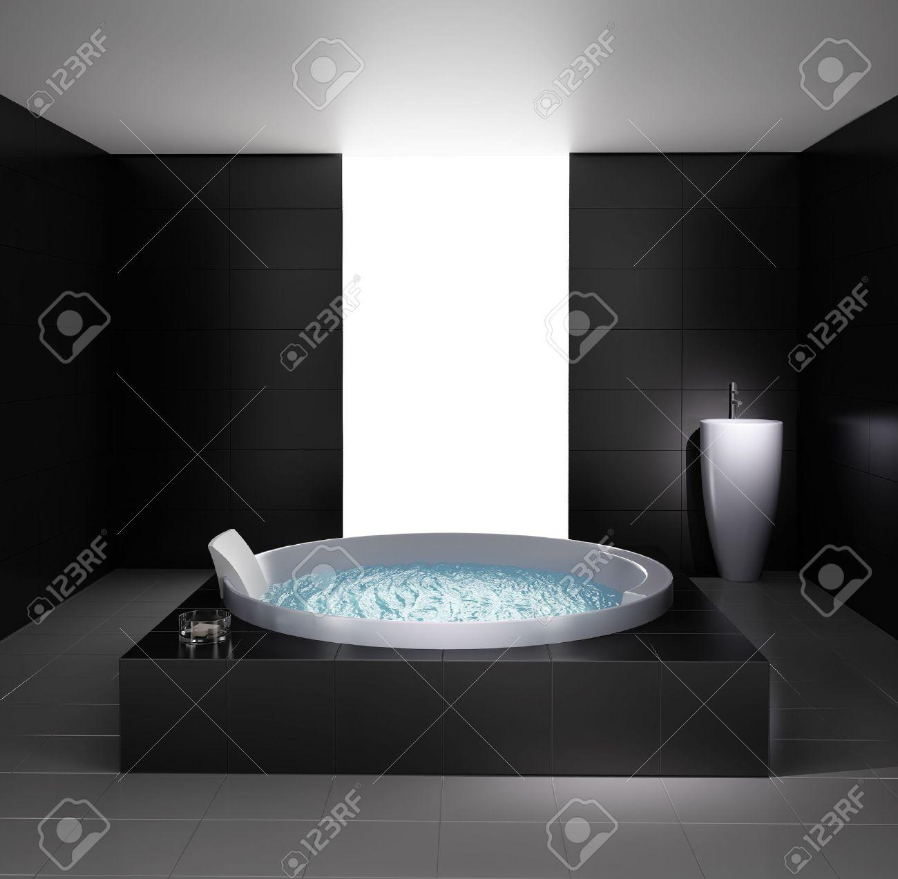 Minimal Black White Bathroom With Jacuzzi Bathtub Stock Photo