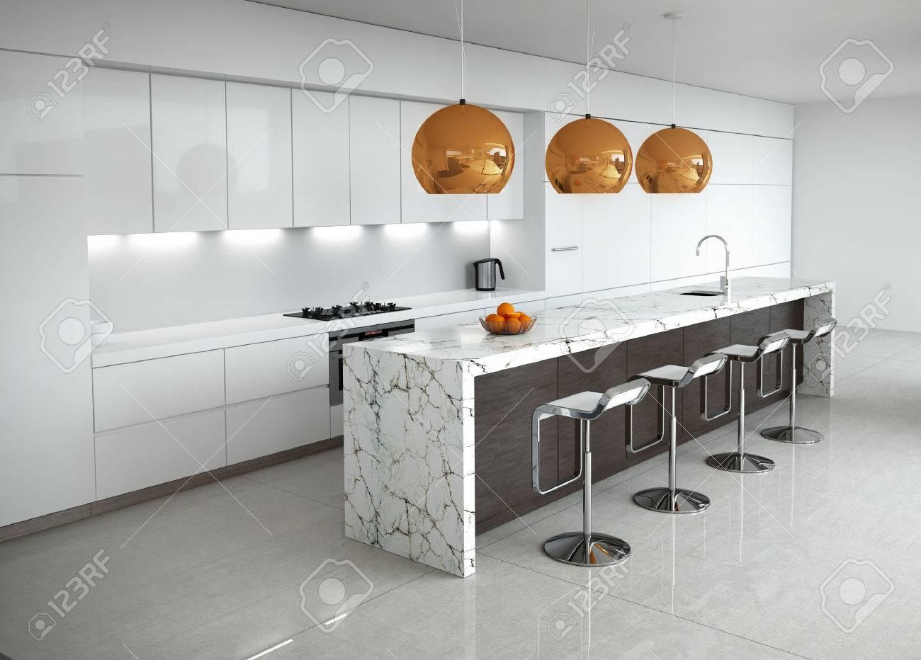 Moderne Minimal Weiße Küche Mit Marmor Und Holz Details Lizenzfreie ...