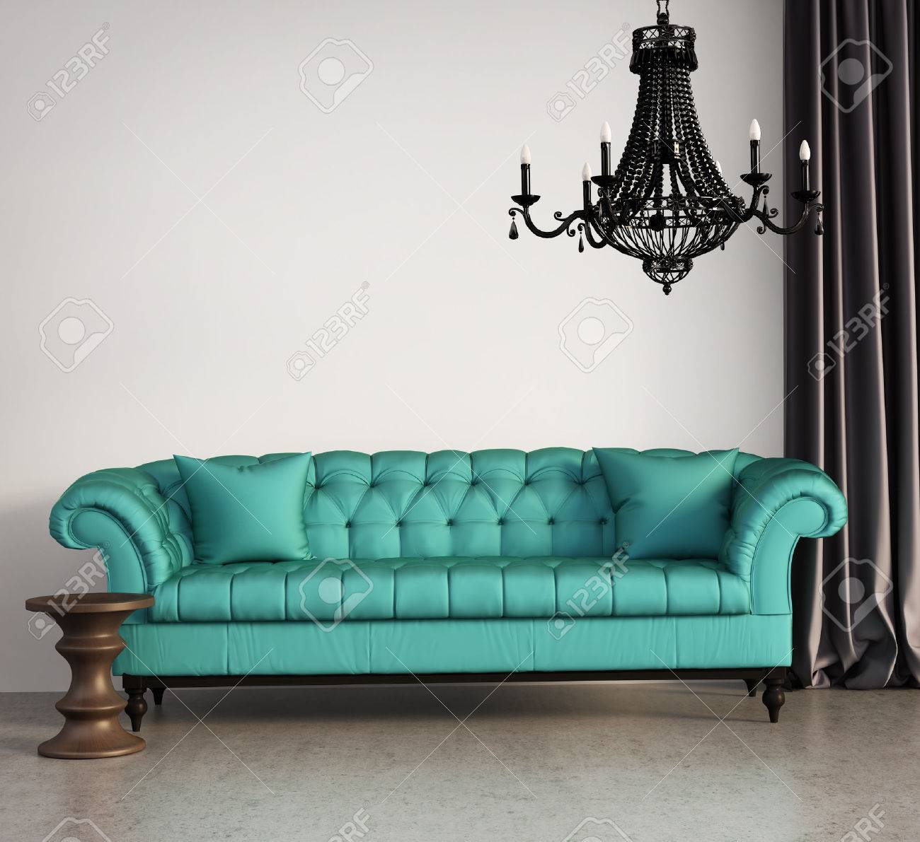 Vintage klassiskt elegant vardagsrum med gröna soffan och ...