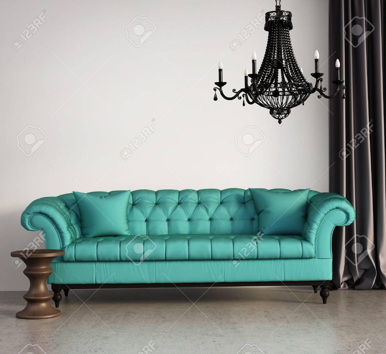 Vintage-Klassiker Elegantes Wohnzimmer Mit Grünen Sofa Und ...