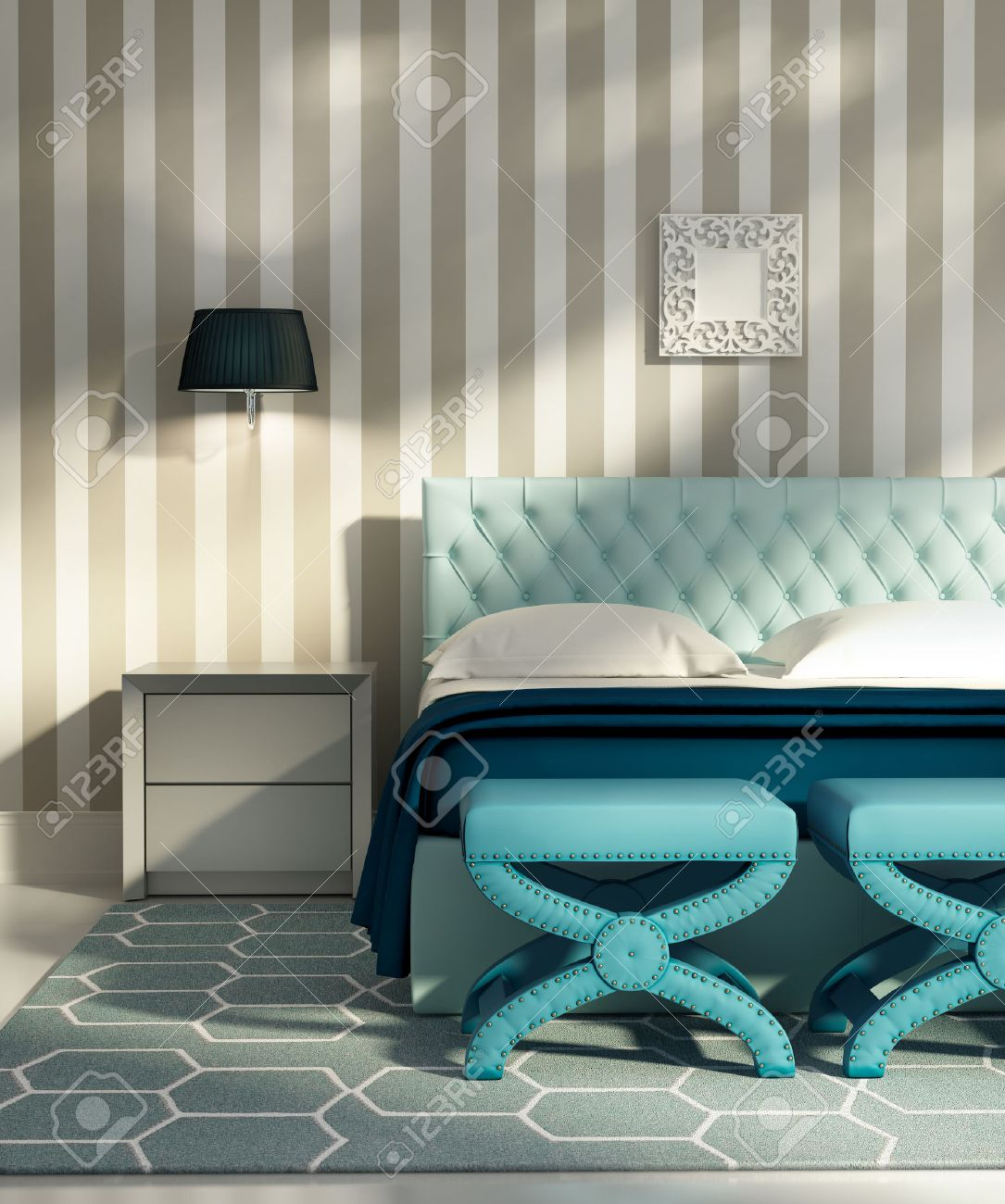 Contemporaine Elegante Chambre De Luxe Avec Des Tabourets Bleu Et Un Papier Peint A Rayures