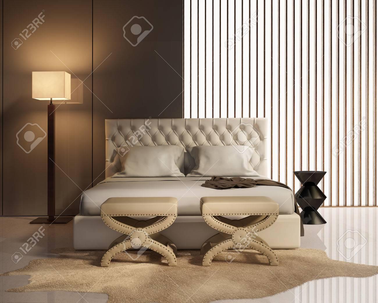 Samtida elegant lyx sovrum med avföring och läder säng royalty ...