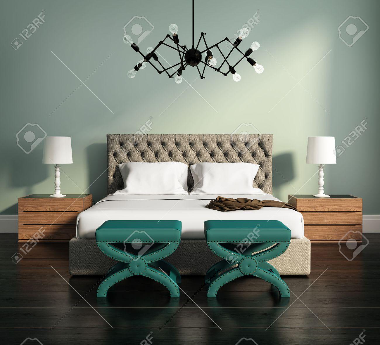 Moderne Elegante Grüne Luxus-Schlafzimmer Mit Hocker Und Lederbett ...