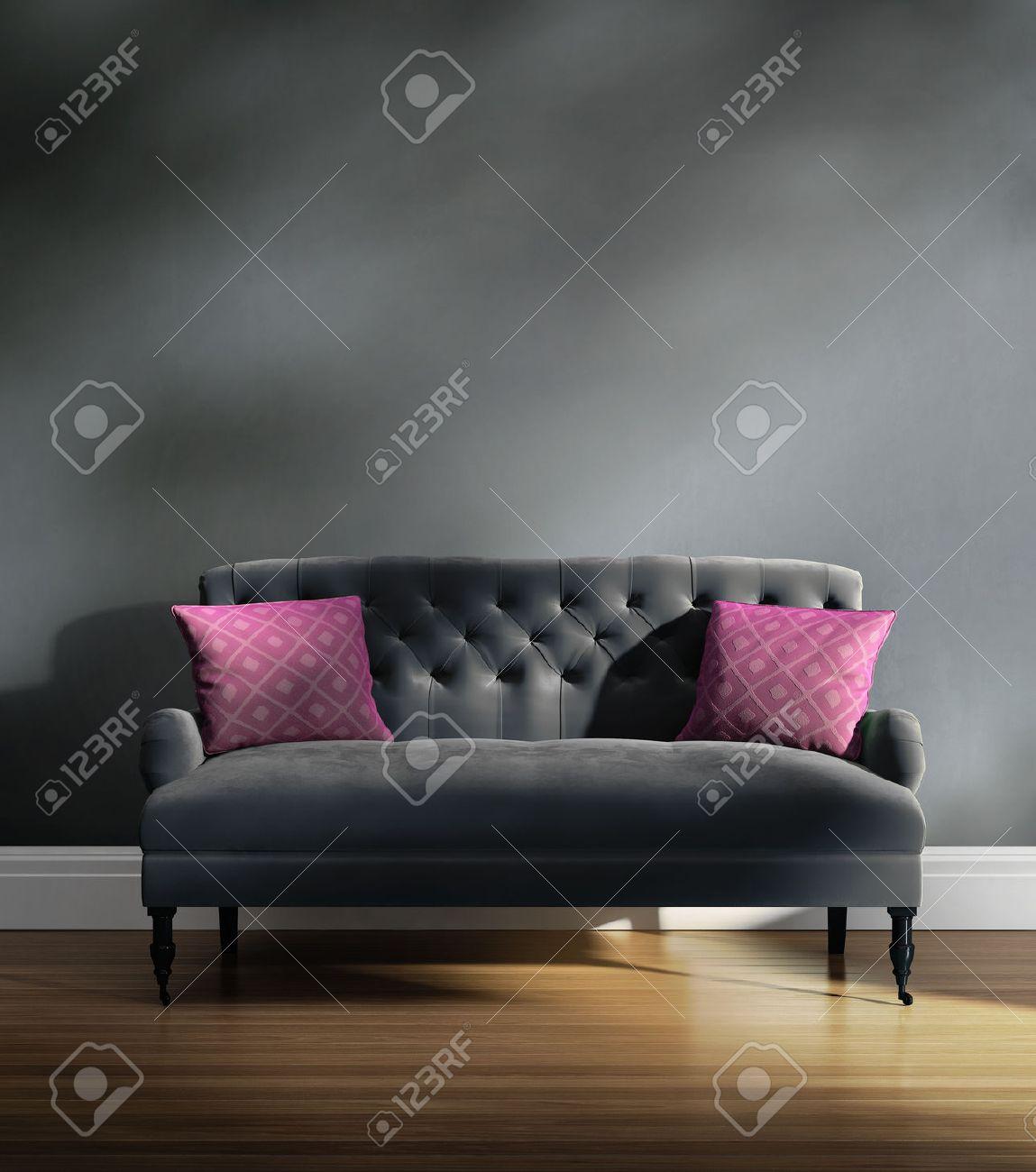 Contemporary Elegant Luxury Grey Velvet Sofa With Pink Cushions ...