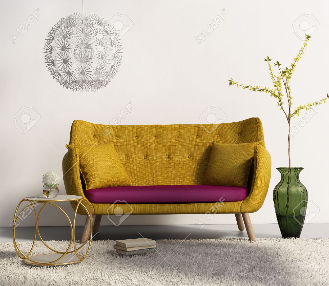 Gele bank in fris interieur woonkamer royalty vrije foto, plaatjes ...