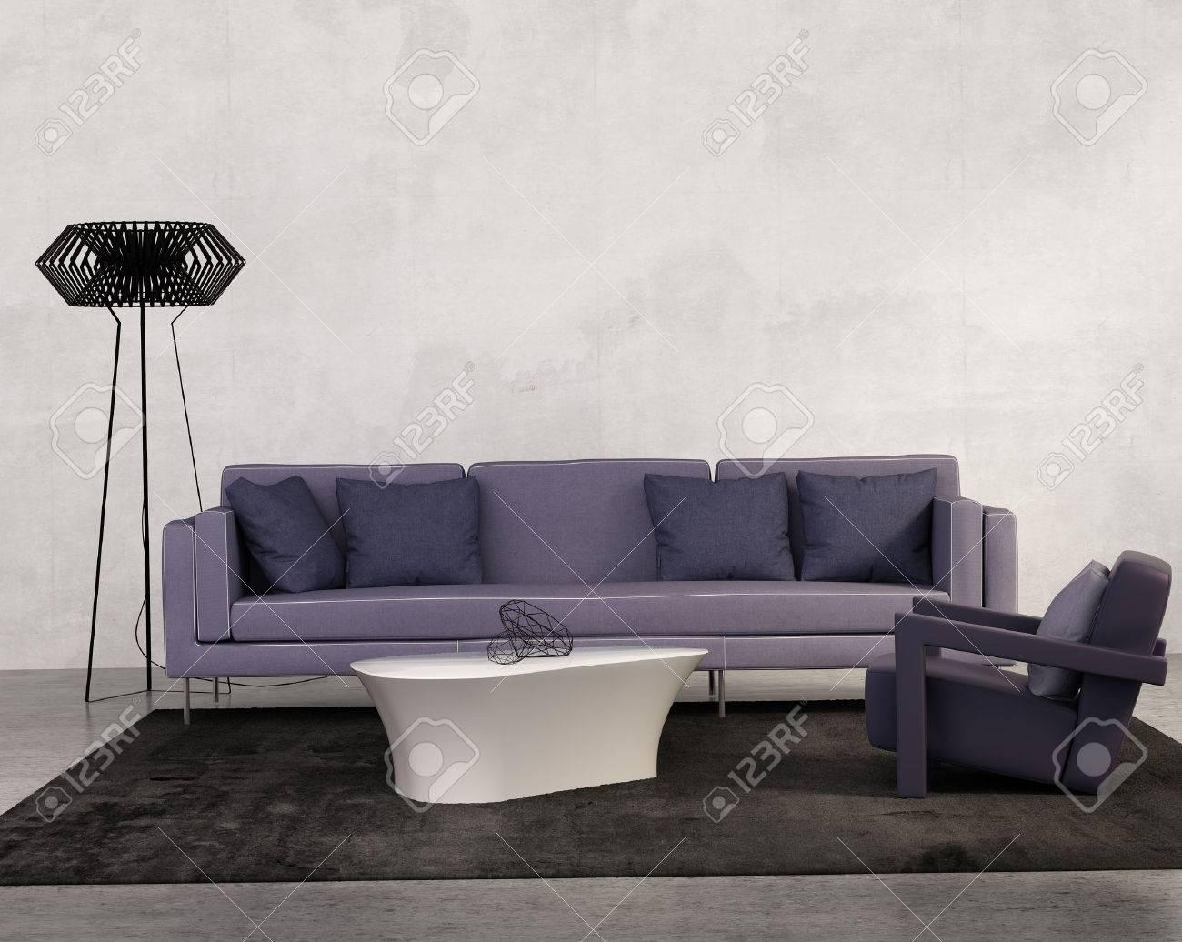 Zeitgenössische Wohnzimmer Mit Lila Sofa Lizenzfreie Fotos, Bilder ...