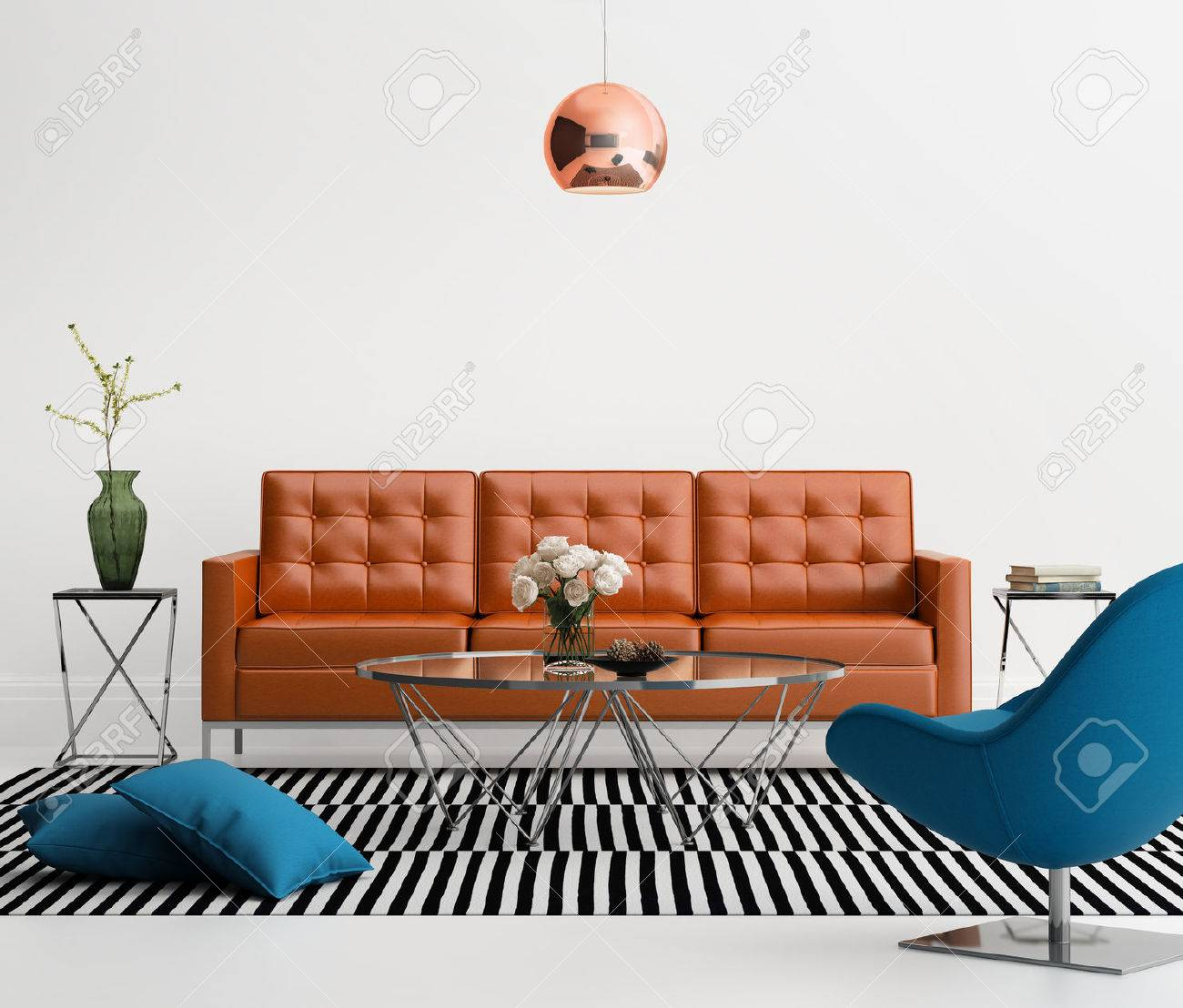 Contemporary living room with orange leather sofa