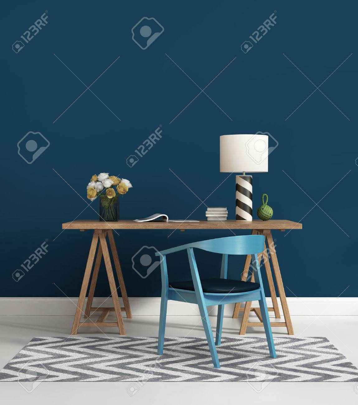 Contemporary blue home office Stock Photo - 30868687