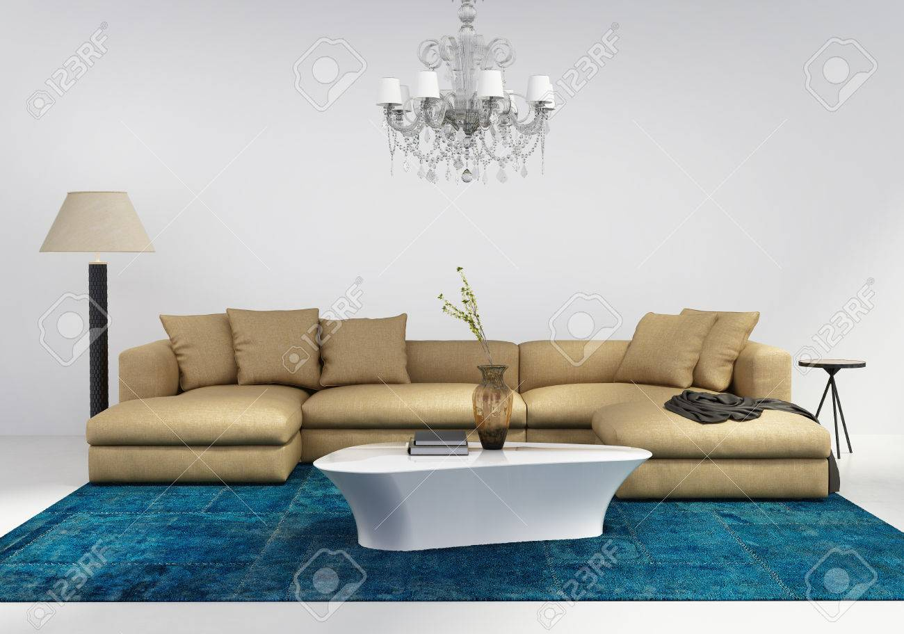 Contemporary stylish living room interior with blue patchwork..