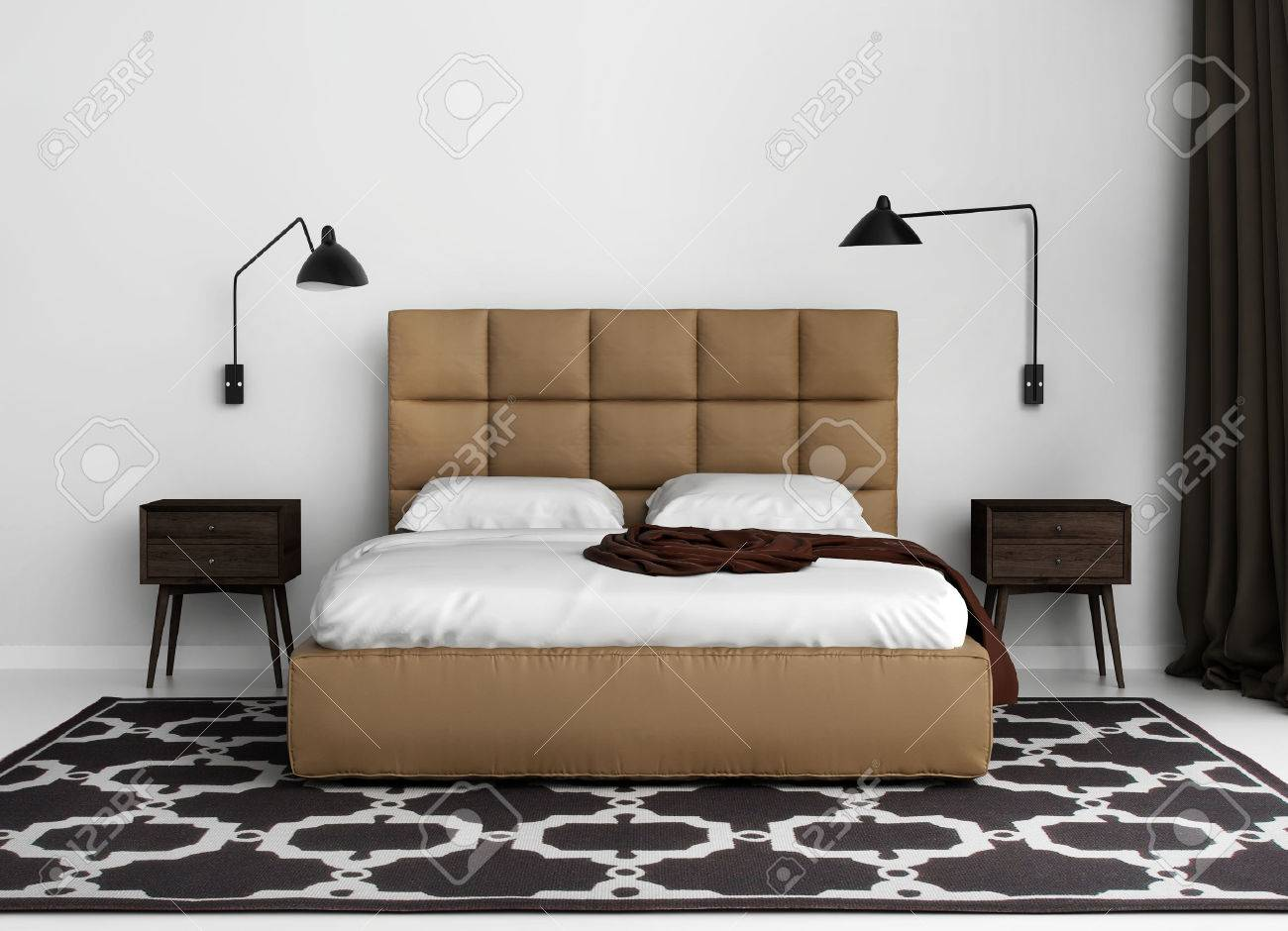 Contemporary Elegant Luxury Bedroom With Leather Bed Stock Photo