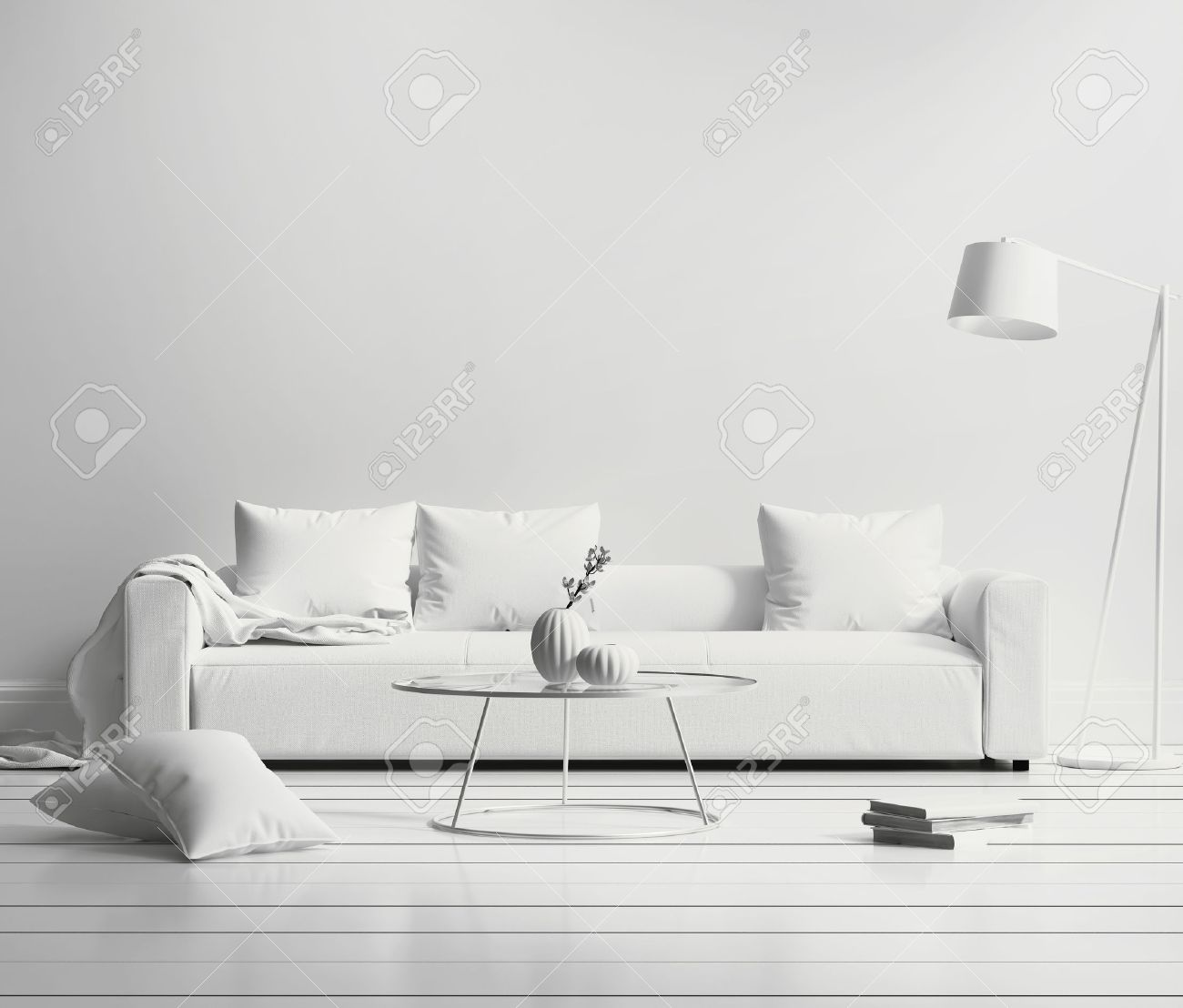 White Minimal Contemporary Interior Living Room Stock Photo, Picture ...