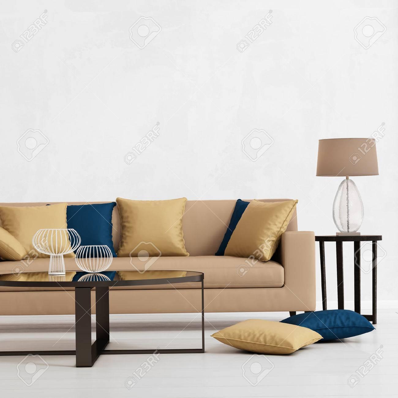 Interior Moderno Con Un Sofa Beige Cojines Y Una Mesa Auxiliar