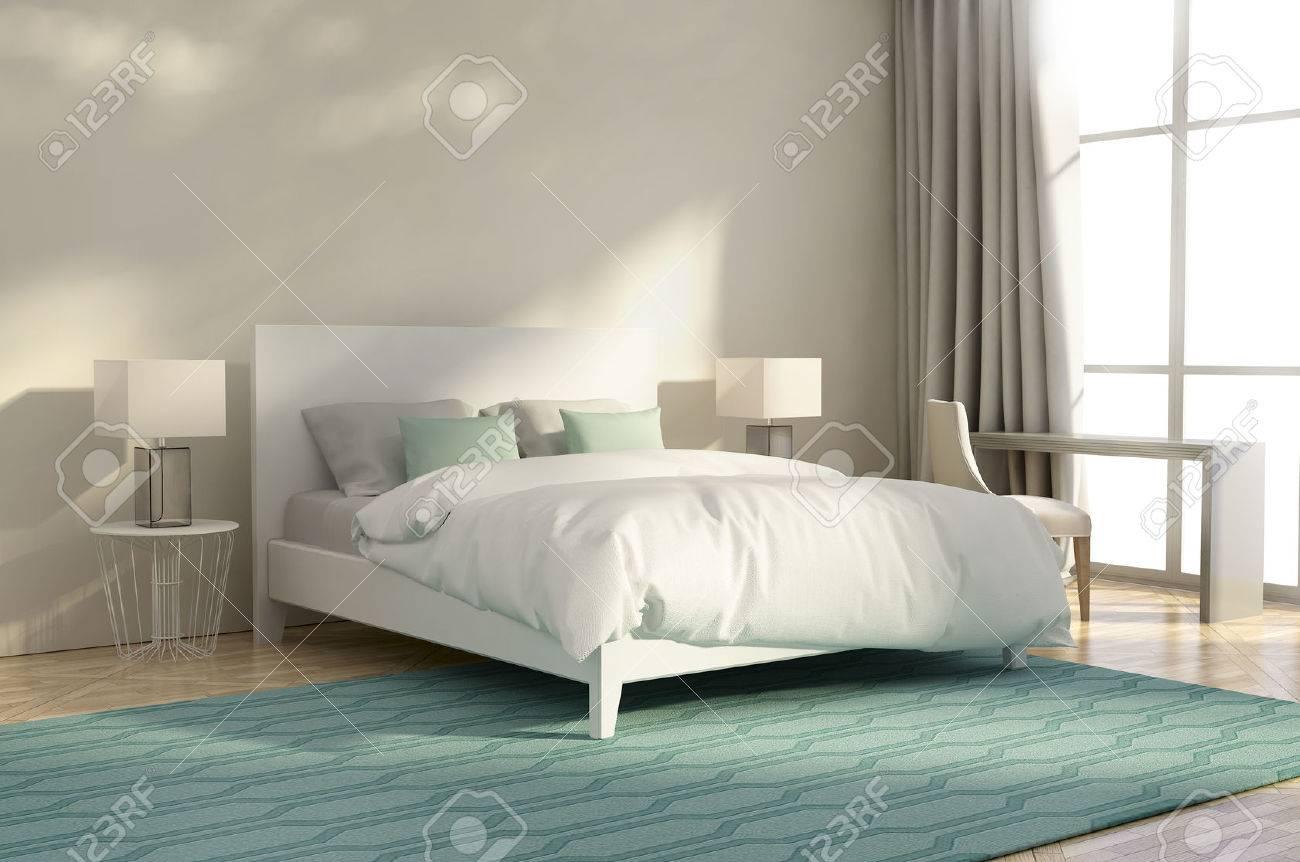 Weiße Und Grüne Luxus-Schlafzimmer Mit Sessel Und Teppich ...