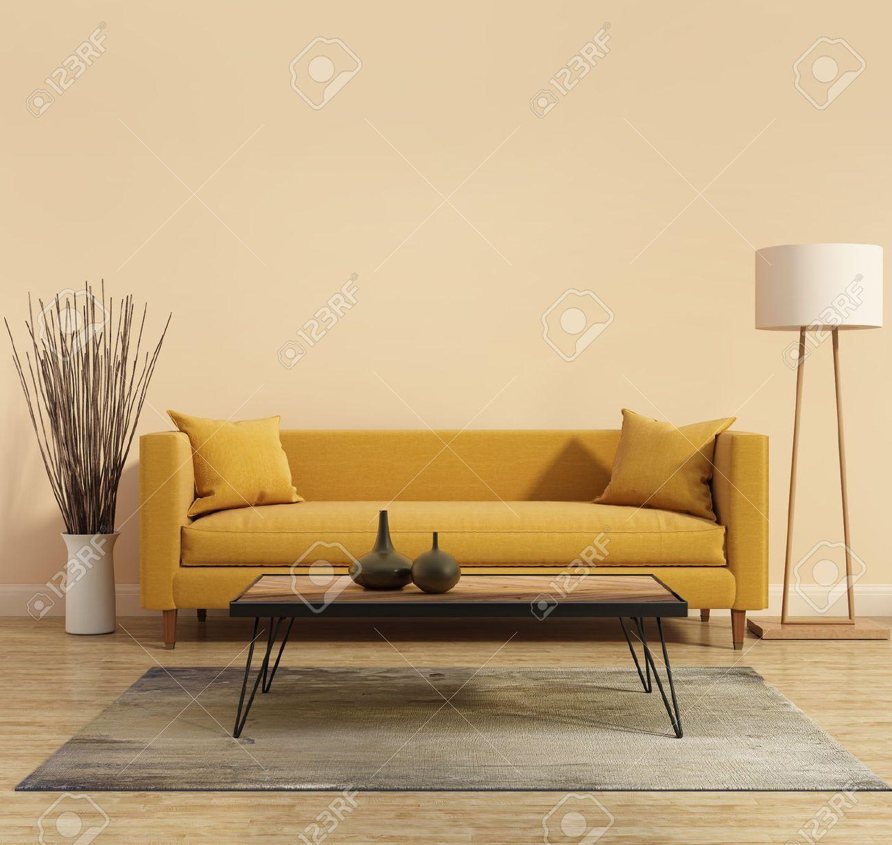 Intérieur moderne avec un canapé jaune dans le salon