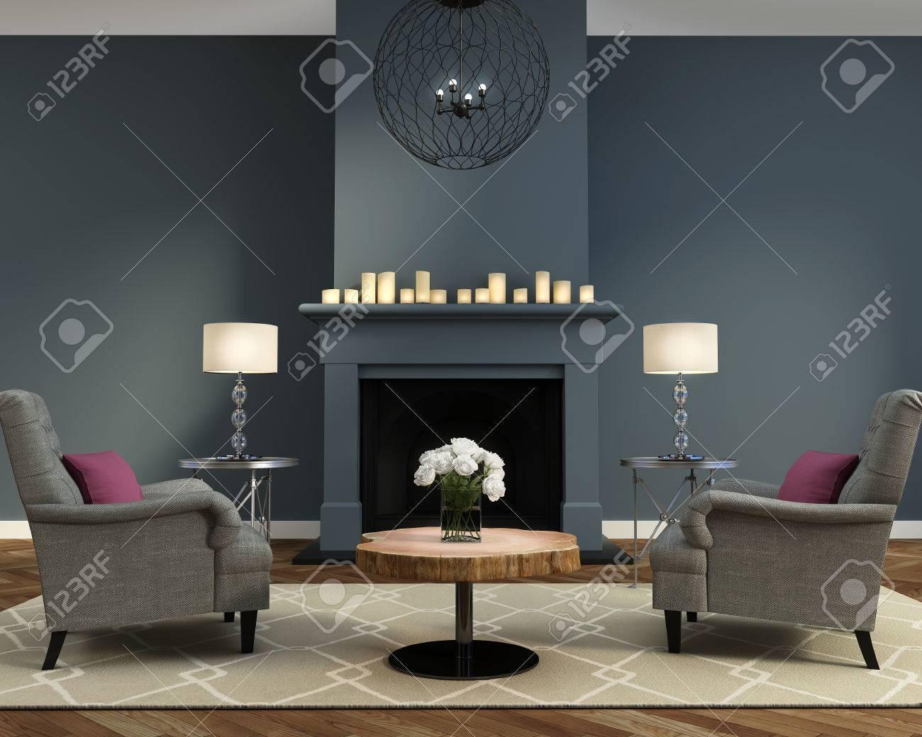 Salon contemporain de luxe élégant avec cheminée