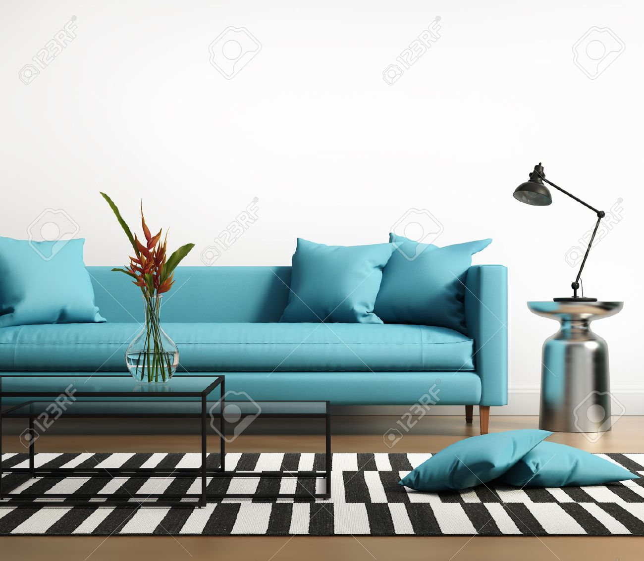 modern interior with a blue turqoise sofa in the living room foto