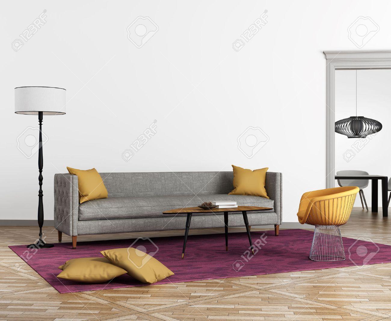 Intérieur moderne de style scandinave avec un canapé gris et un tapis violet
