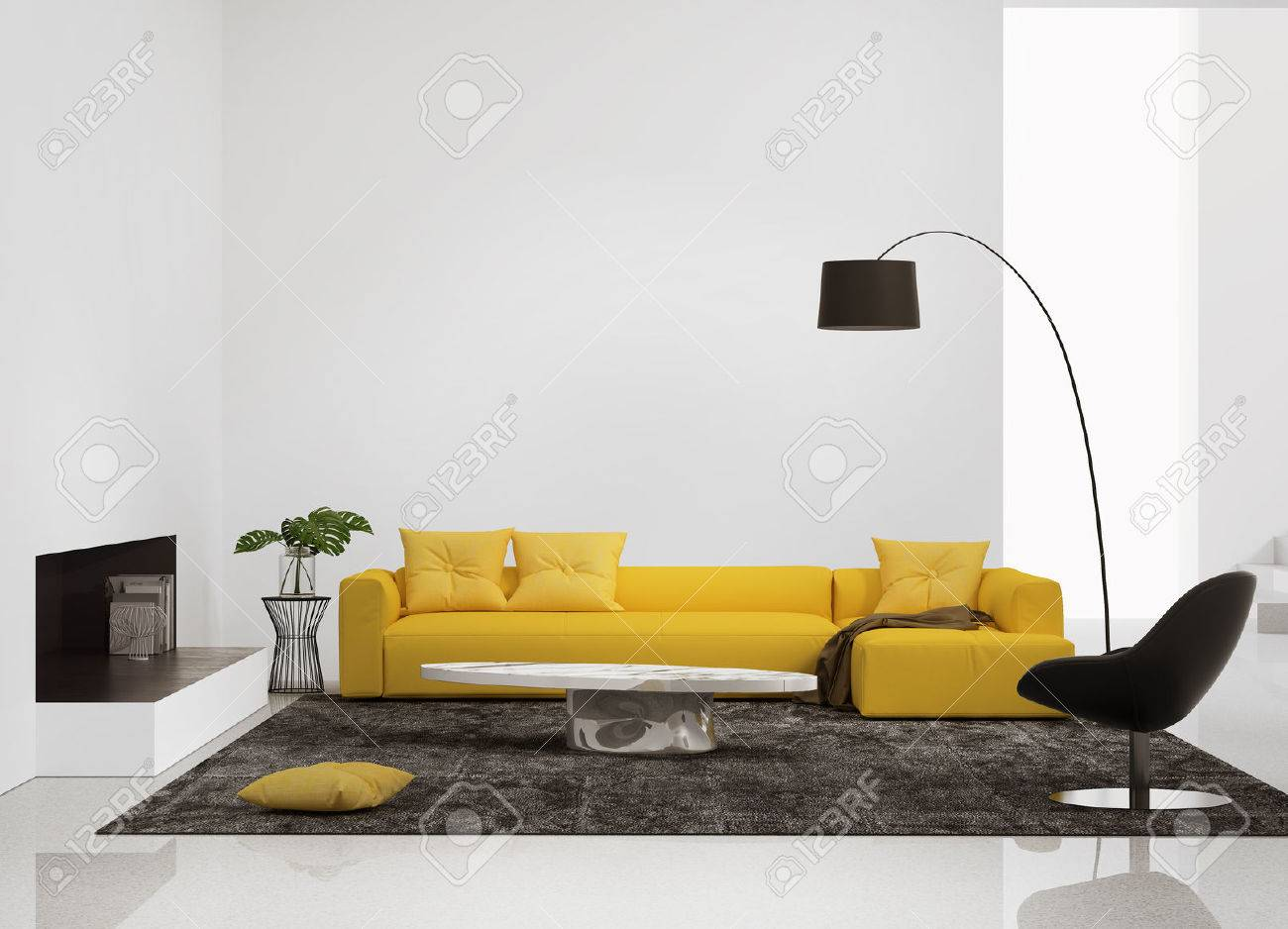 Modern interior with a yellow sofa in the living room and a leather..