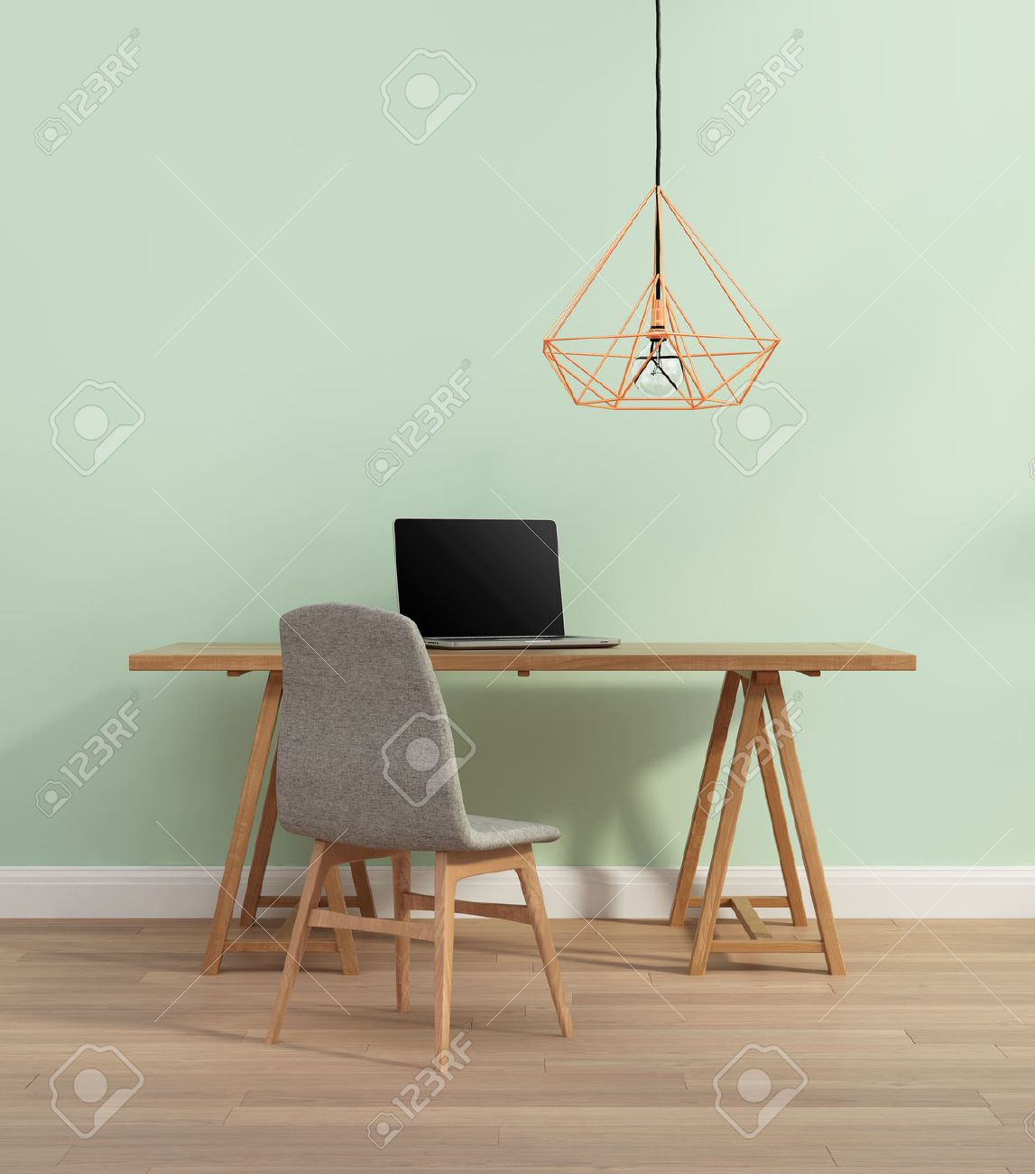Elegant Minimal Mint Color Home Office With Chair Stock Photo   39561550