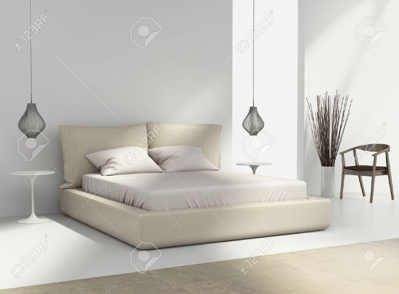Standard Bild   Weiß Und Beige Schlafzimmer Mit Stuhl Und Hängelampen Draht