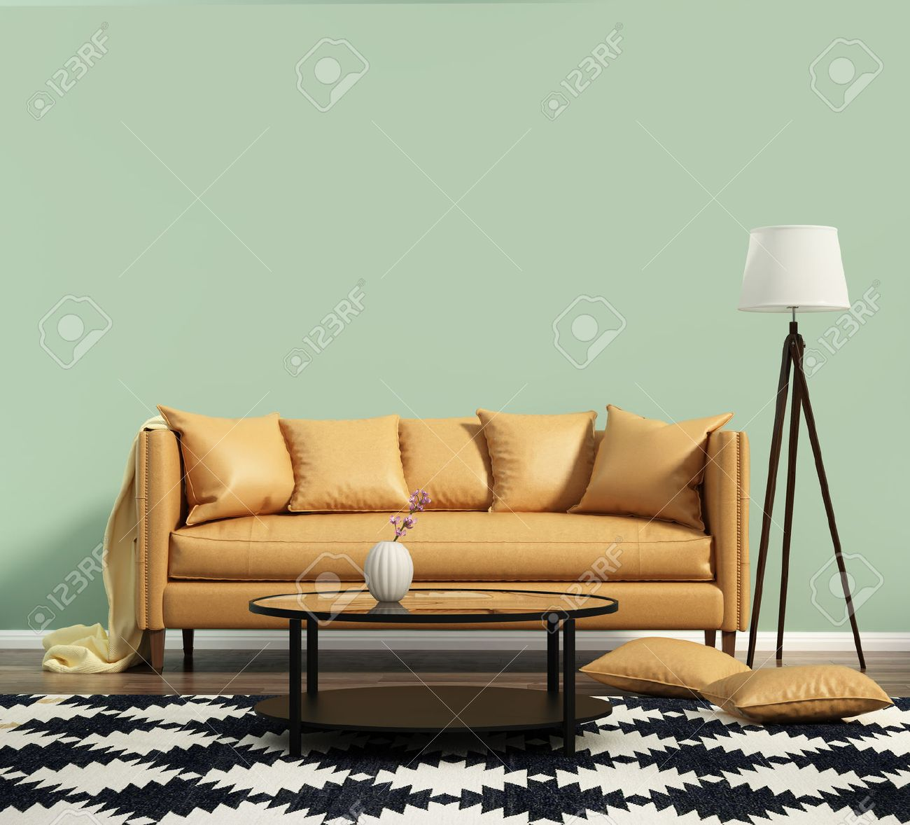 Wohnzimmer Mit Einem Ledersofa Mit Grunen Wand Lizenzfreie Fotos