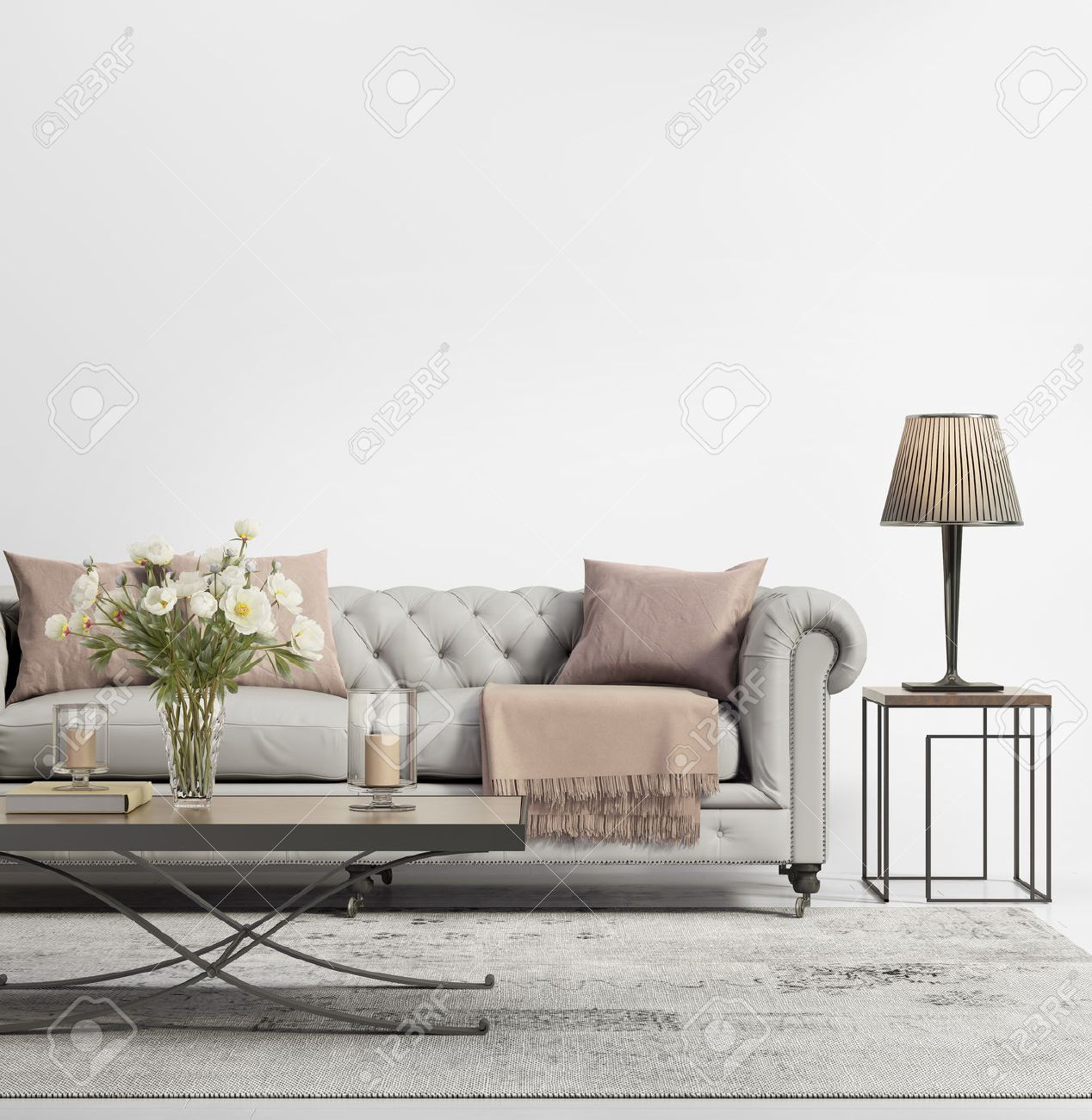 Contemporary Elegant Chic Living Room With Grey Tufted Sofa Stock Photo    47692410