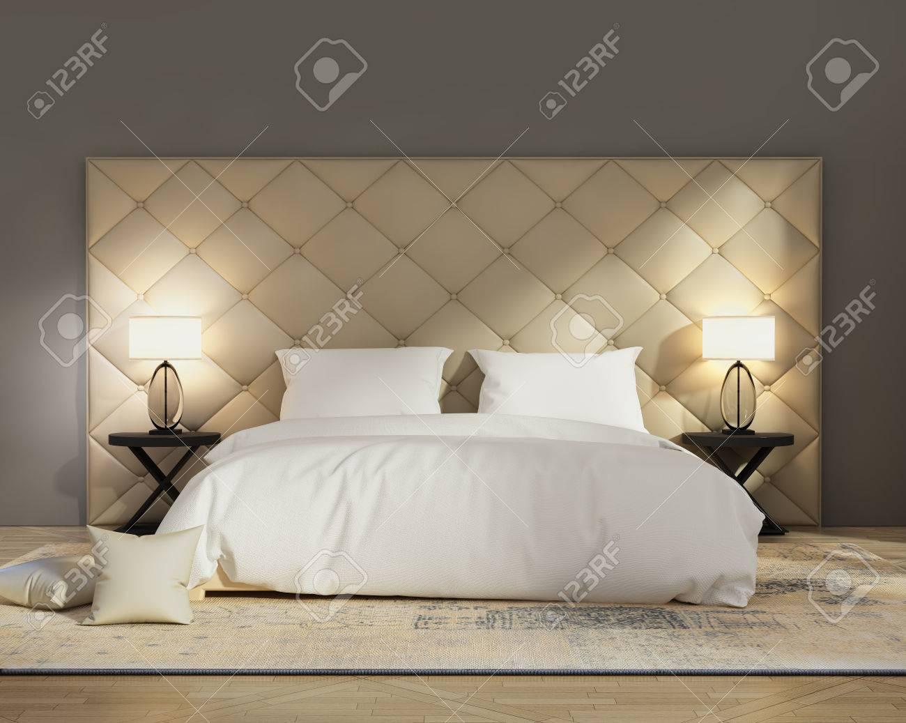 Zeitgenössisches, Elegantes Kapiton-Luxus-Schlafzimmer Lizenzfreie ...
