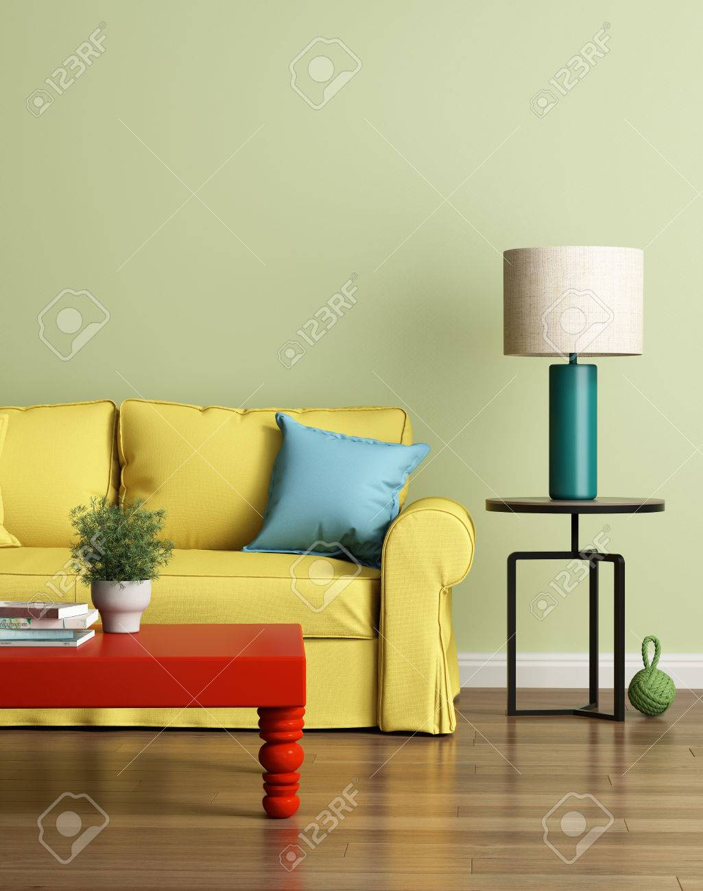 Modern Yellow Sofa In A Light Green Luxury Interior Stock Photo   49668699
