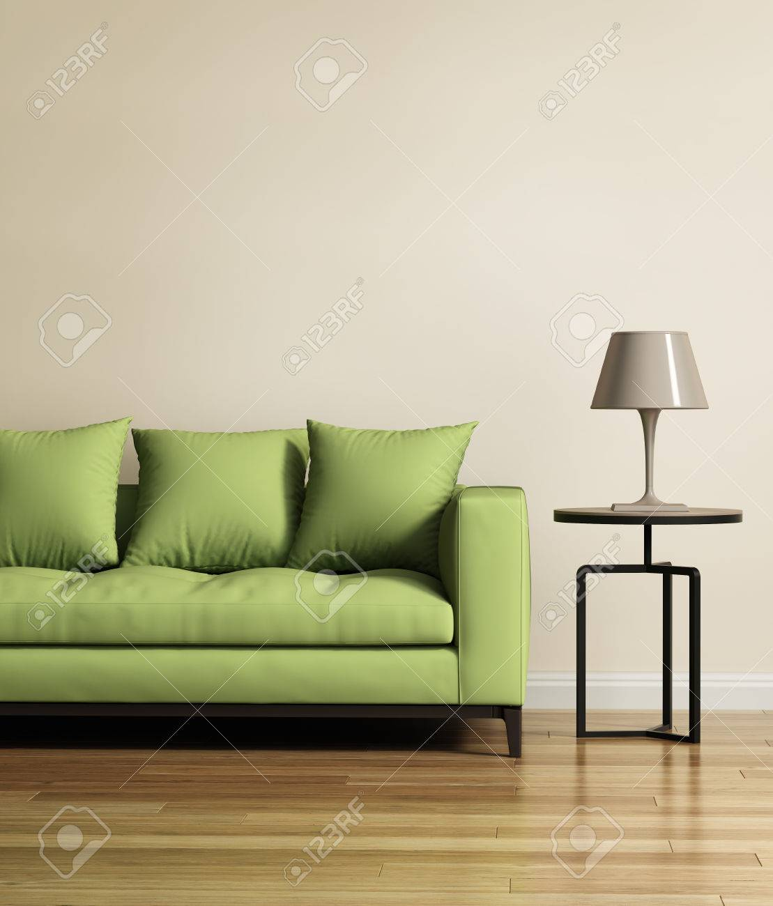 Amazing Living Room With A Light Green Sofa Stock Photo   51646570