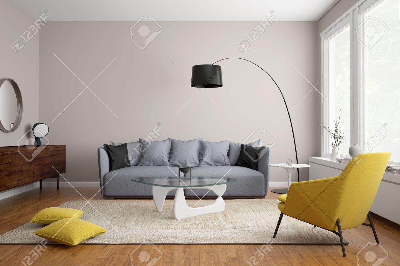 Salon moderne scandinave avec canapé gris