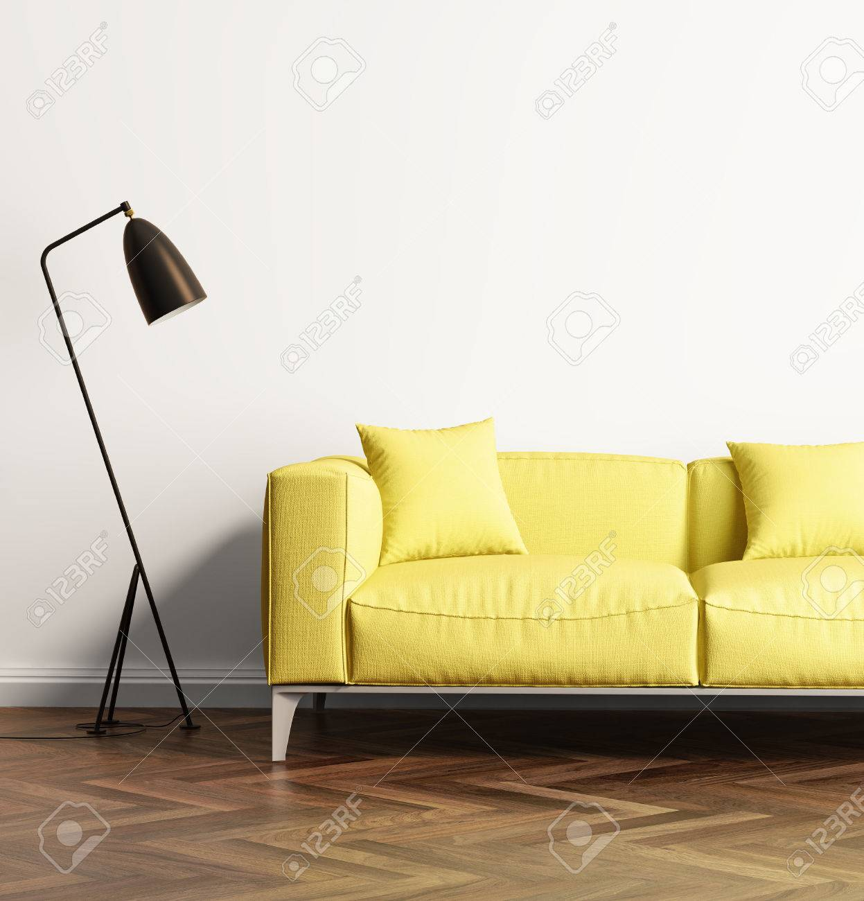 Modern yellow sofa in a fresh living room