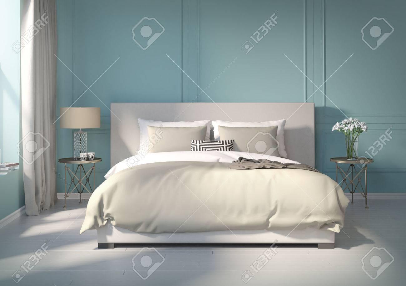 Uberlegen Klassisches Blaues Schlafzimmer Mit Weiem Boden Lizenzfreie Fotos