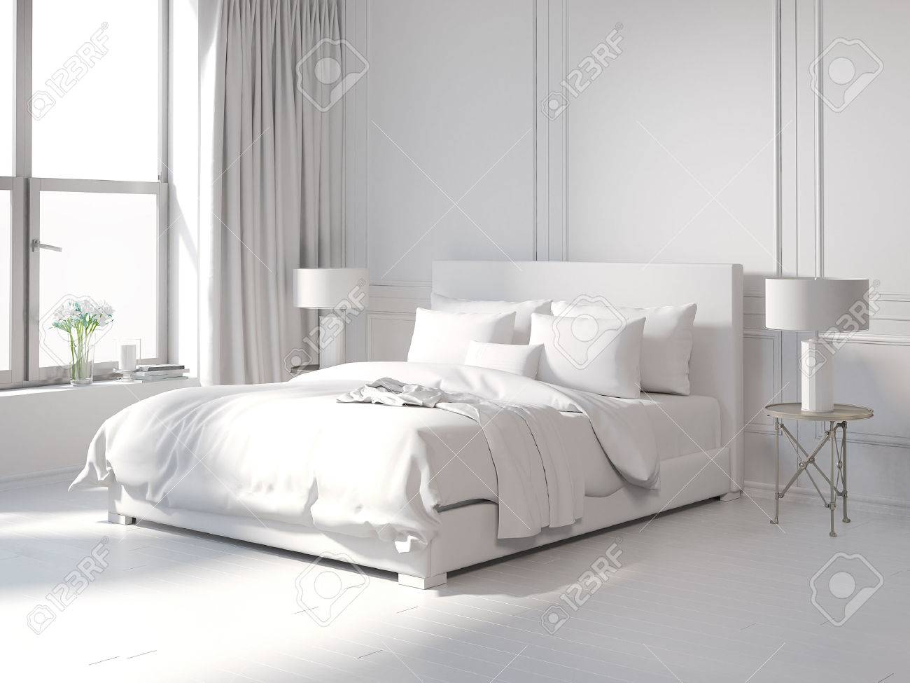 Contemporary All White Bedroom Stock Photo, Picture And Royalty Free ...