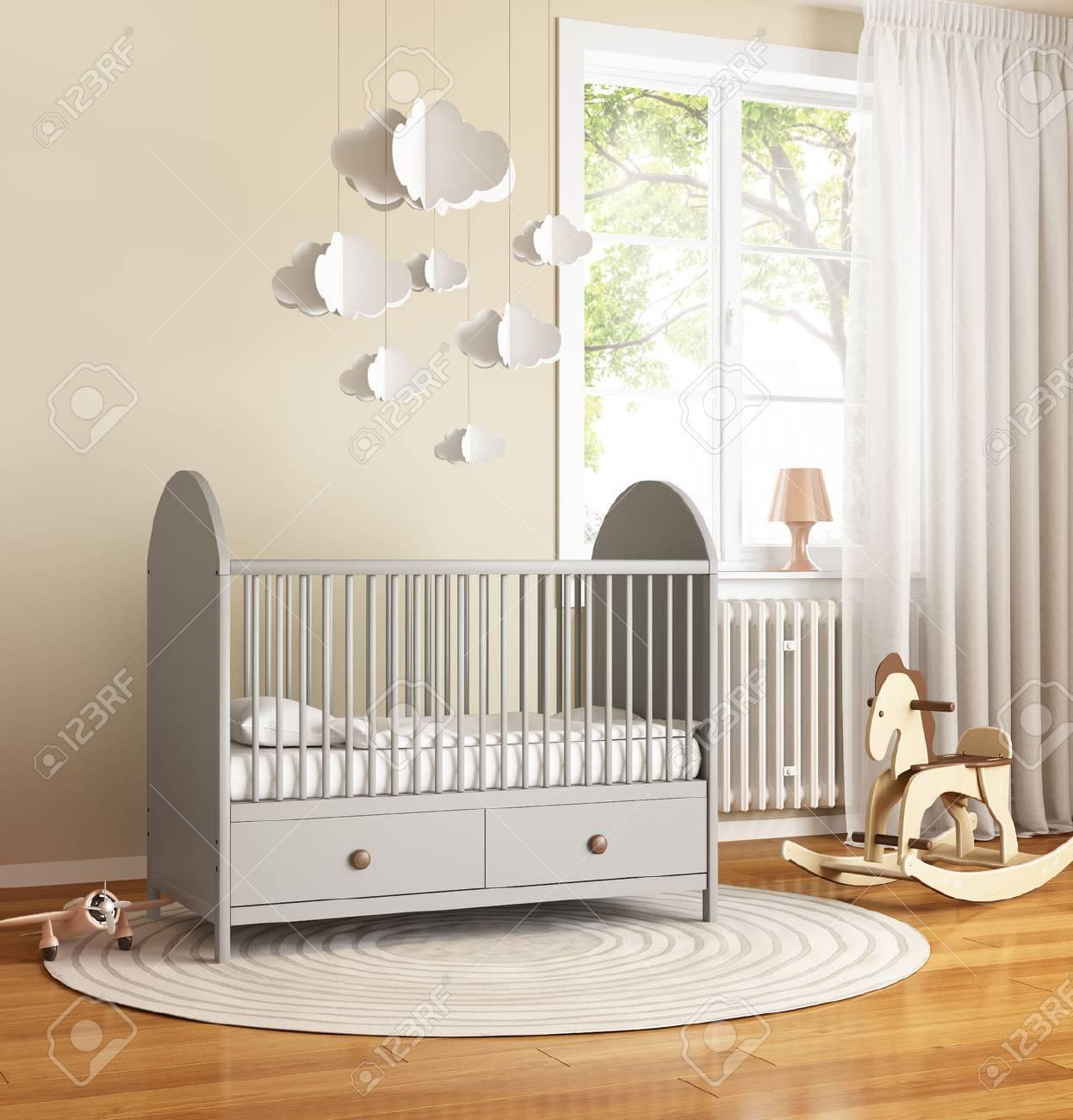 Chambre de bébé beige et grise avec tapis