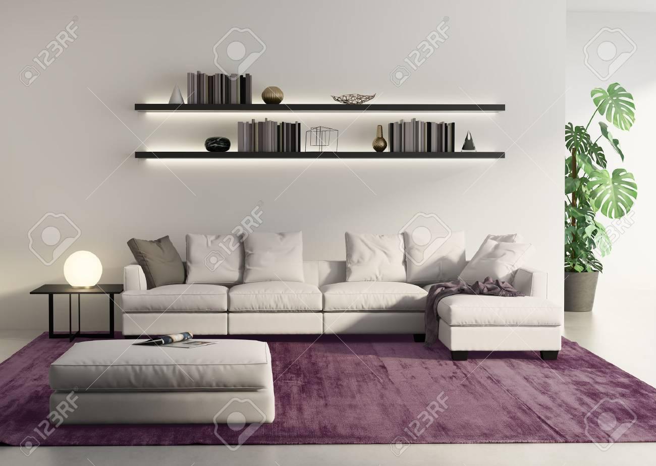 Rendu D\'un Canapé Moderne Dans Un Salon Gris Contemporain Banque D ...