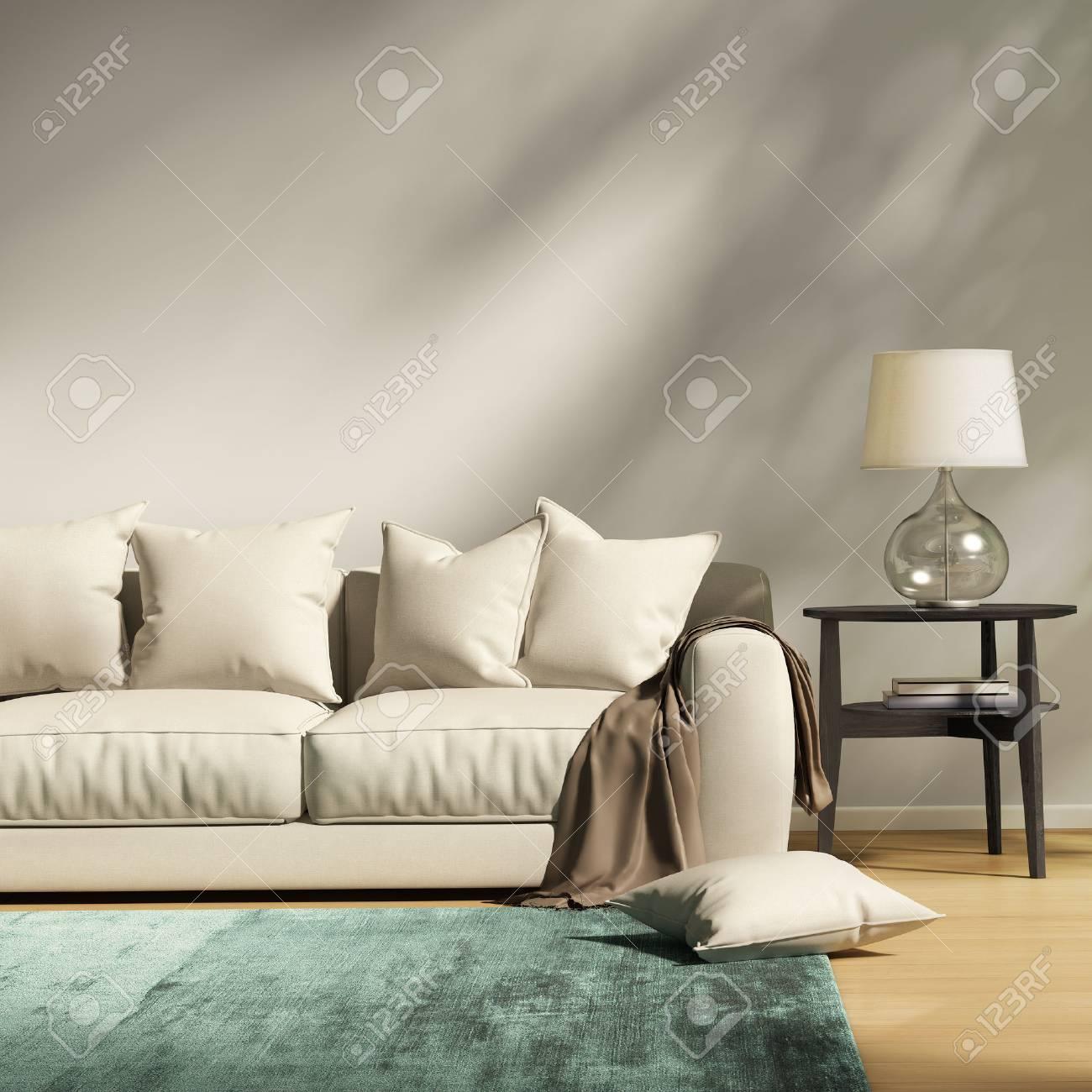 Canapé gris clair moderne dans un salon contemporain