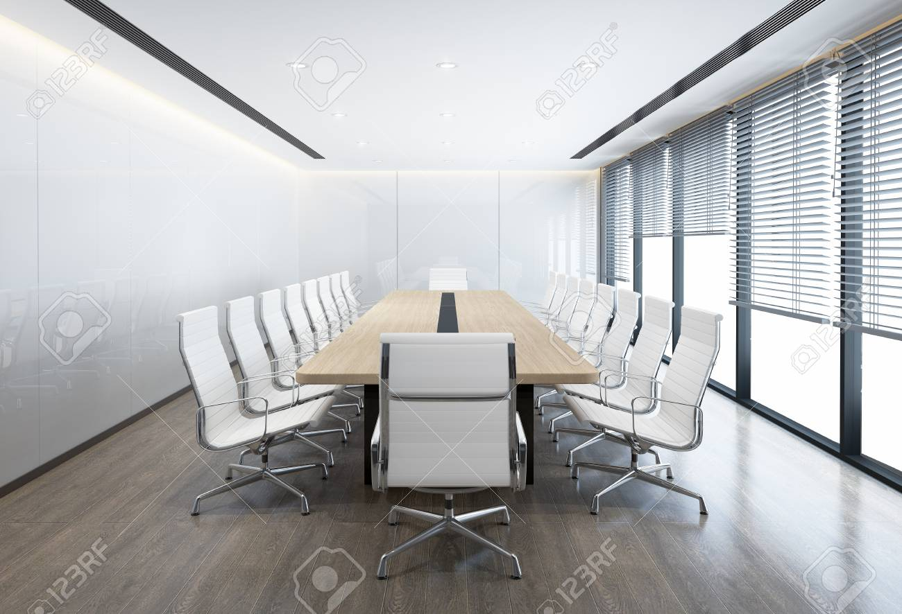 Minimal white Conference room with white chairs