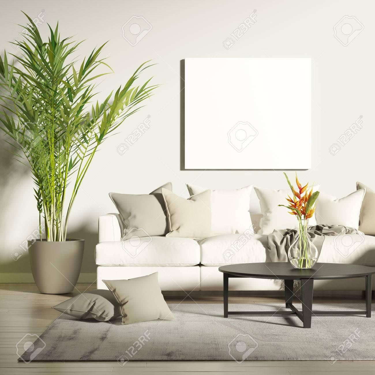 Zeitgenössisches Wohnzimmer Mit Mock-Up-Poster Lizenzfreie Fotos ...
