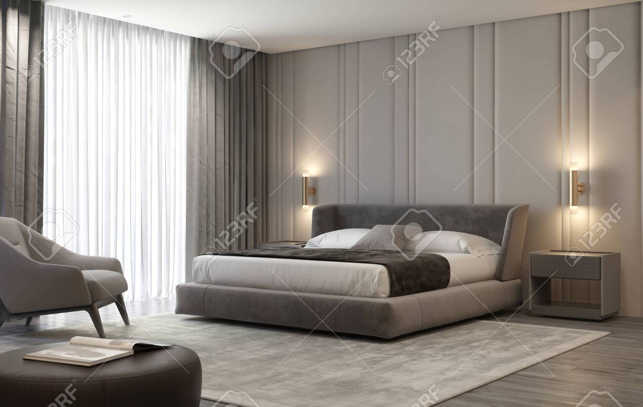 Grey contemporary luxury modern bedroom with stool and a carpet