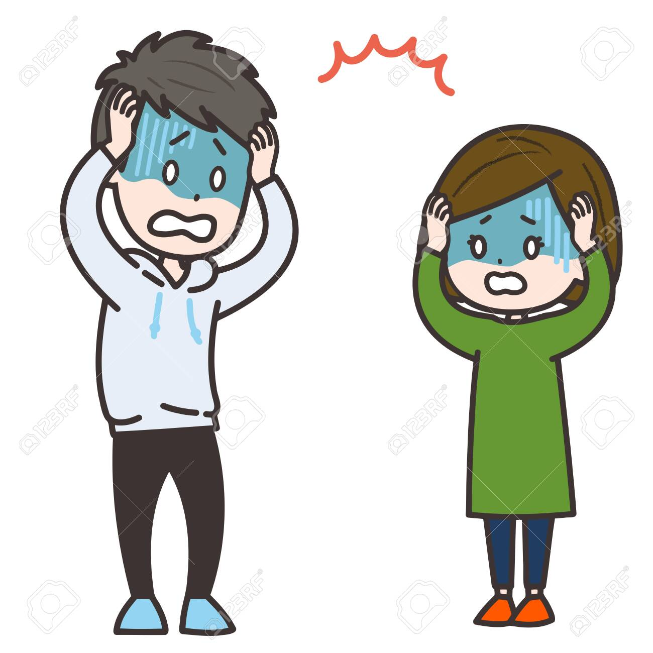 It is an illustration of a man and a woman who panic. Vector image. - 153013648