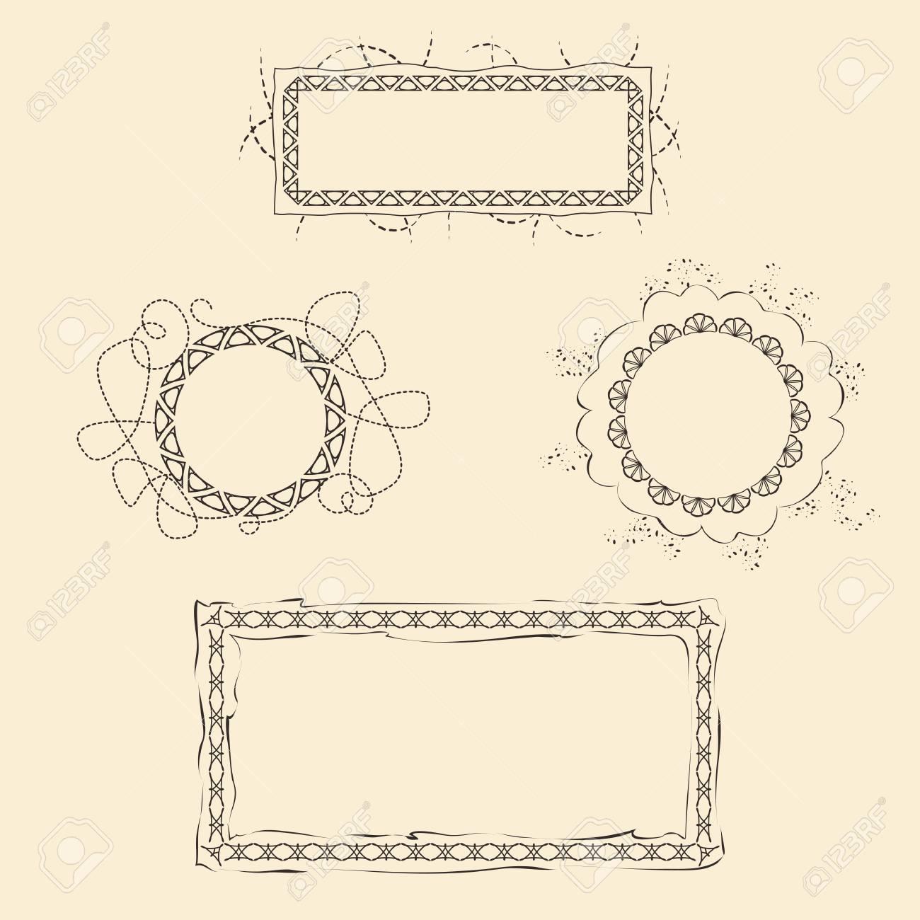 Conjunto De Cuatro Marcos Para El Diseño Web Y Papel Ilustraciones ...