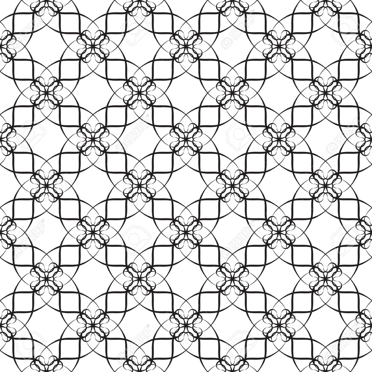 Seamless pattern of curves: black and white colours Stock Vector - 24252137