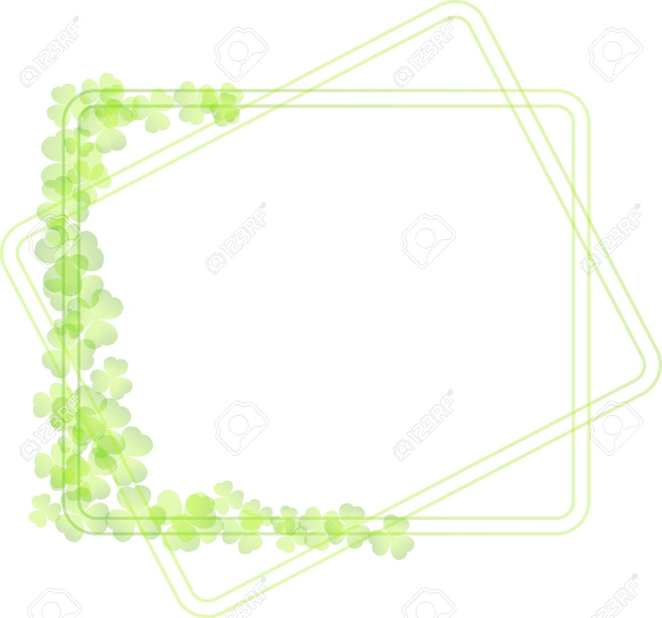 green frame with clover leaves Stock Vector - 18231534