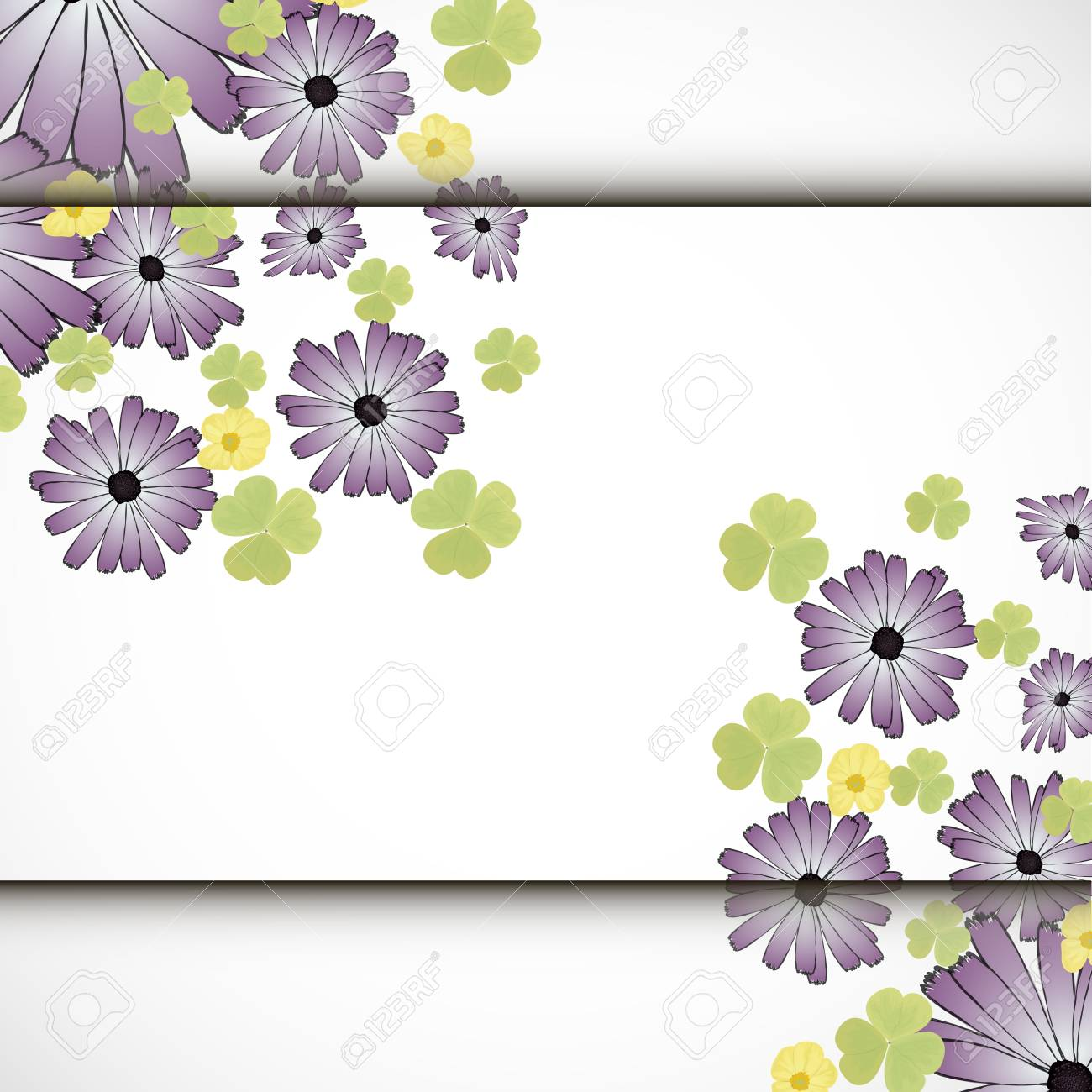colorful flower with shadow background   illustration Stock Illustration - 18677455