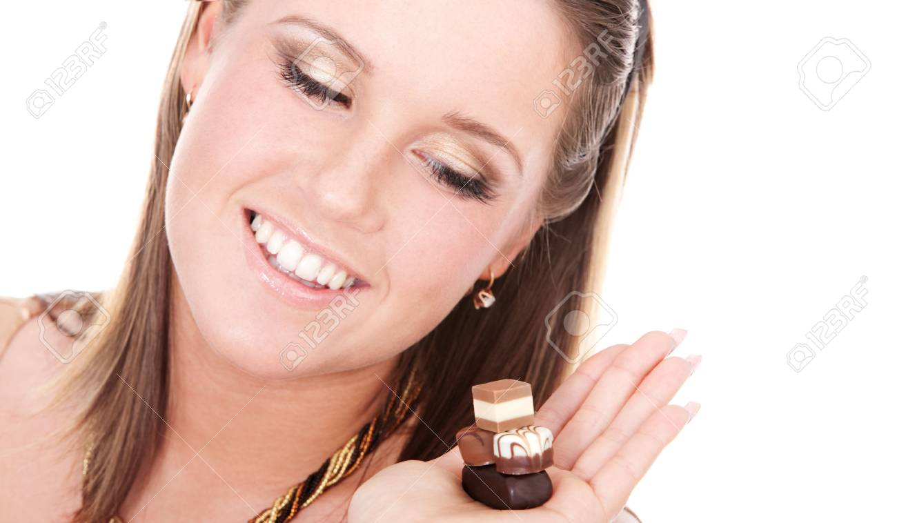 Portrait of young woman tempted by chocolate Stock Photo - 5034339