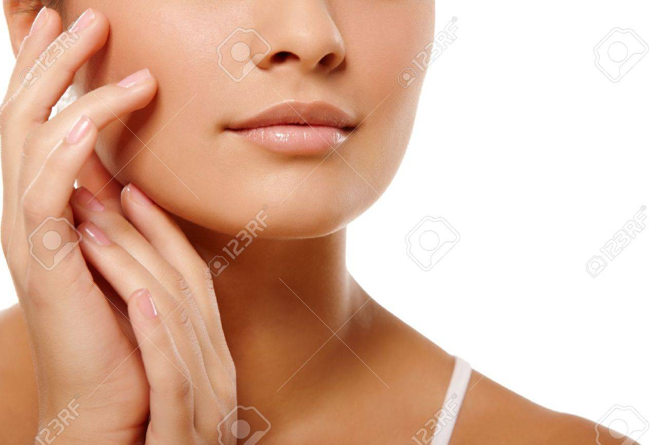 Anonymous portrait of young woman head and hands over isolated white background Stock Photo - 8204073