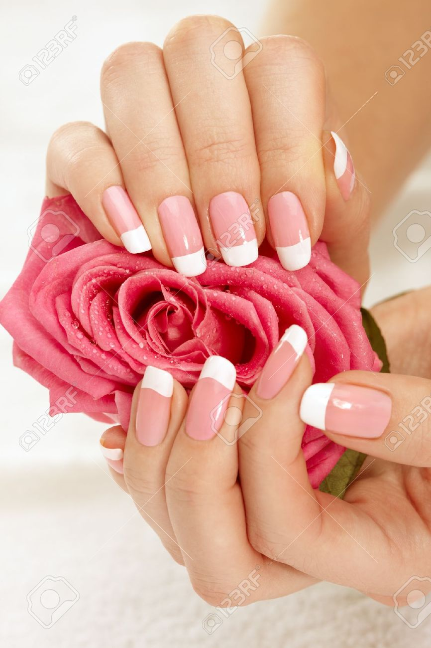 Beautiful Manicure Nails With A Rose Stock Photo, Picture And ...