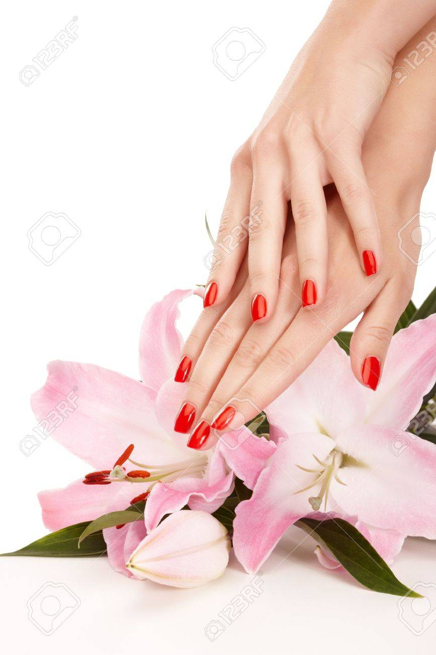 Closeup image of red manicure on top of towel Stock Photo - 9944870