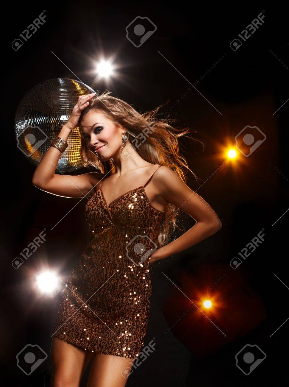 Portrait of dancing girl on disco party Stock Photo - 11888975